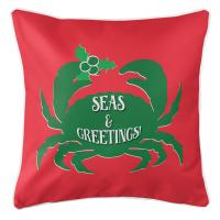 Seas & Greetings Crab Christmas Pillow - Green on Red