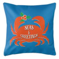 Seas & Greetings Crab Christmas Pillow - Blue, Orange