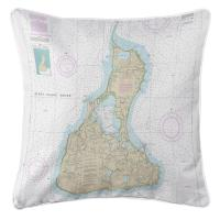 RI: Block Island, RI Nautical Chart Pillow