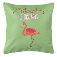 Flamingo Christmas Pillow - Light Green