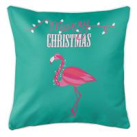 Flamingo Christmas Pillow - Aqua