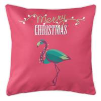 Flamingo Christmas Pillow - Pink