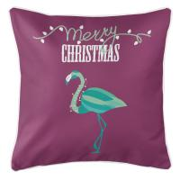 Flamingo Christmas Pillow - Plum