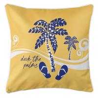 Deck the Palms Pillow - Blue on Yellow