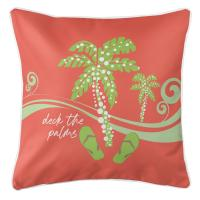 Deck the Palms Pillow - Lime on Coral