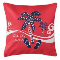 Deck the Palms Pillow - Navy on Red