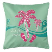 Deck the Palms Pillow - Pink on Mint
