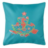 Sea Life Christmas Tree Pillow -  Coral on Light Turquoise