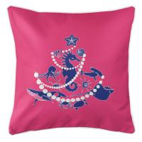 Sea Life Christmas Tree Pillow - Blue on Pink