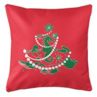 Sea Life Christmas Tree Pillow - Green on Red