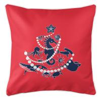 Sea Life Christmas Tree Pillow - Navy on Red
