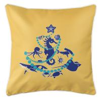 Sea Life Christmas Tree Pillow - Navy on Yellow