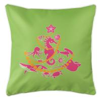 Sea Life Christmas Tree Pillow - Pink on Lime