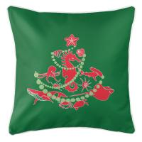 Sea Life Christmas Tree Pillow - Red on Green