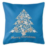 Seashell Christmas Tree Pillow - Blue