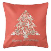 Seashell Christmas Tree Pillow - Coral