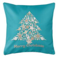 Seashell Christmas Tree Pillow - Light Turquoise