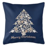 Seashell Christmas Tree Pillow - Navy