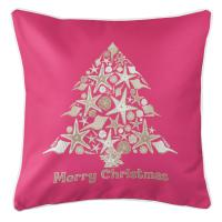 Seashell Christmas Tree Pillow - Pink