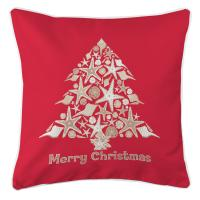 Seashell Christmas Tree Pillow - Red