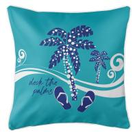 Deck the Palms Pillow - Blue on Light Turquoise