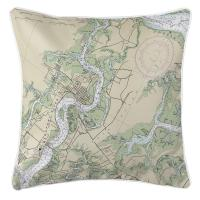 SC: Beaufort & Ladys Island, SC Nautical Chart Pillow