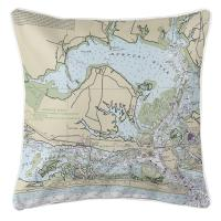 NC: Morehead City, NC Nautical Chart Pillow