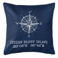 Indian Bluff Island, FL Compass Rose Pillow - Navy