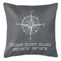 Indian Bluff Island, FL Compass Rose Pillow - Gray