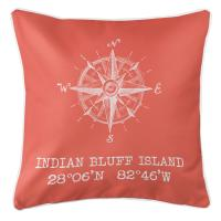 Indian Bluff Island, FL Compass Rose Pillow - Coral
