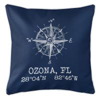 Ozona, FL Compass Rose Pillow - Navy