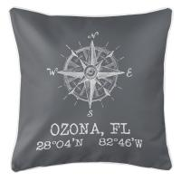 Ozona, FL Compass Rose Pillow - Gray