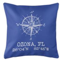 Ozona, FL Compass Rose Pillow - Cobalt