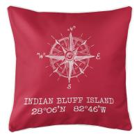 Indian Bluff Island, FL Compass Rose Pillow - Red