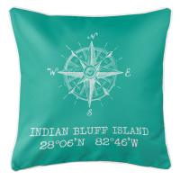 Indian Bluff Island, FL Compass Rose Pillow - Aqua