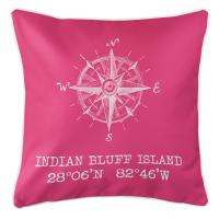 Indian Bluff Island, FL Compass Rose Pillow - Pink