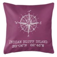 Indian Bluff Island, FL Compass Rose Pillow - Plum