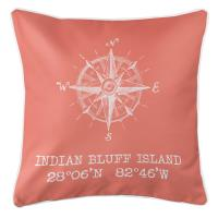 Indian Bluff Island, FL Compass Rose Pillow - Salmon