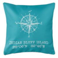 Indian Bluff Island, FL Compass Rose Pillow - Light Turquoise
