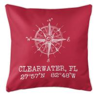 Clearwater, FL Compass Rose Pillow - Red