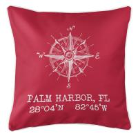Palm Harbor, FL Compass Rose Pillow - Red