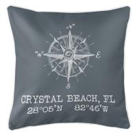 Crystal Beach, FL Compass Rose Pillow - Gray