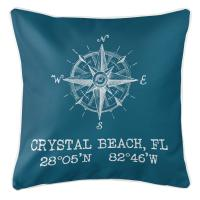 Crystal Beach, FL Compass Rose Pillow - Teal