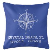 Crystal Beach, FL Compass Rose Pillow - Blue