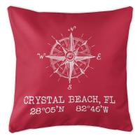 Crystal Beach, FL Compass Rose Pillow - Red