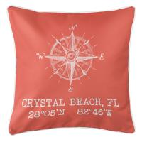 Crystal Beach, FL Compass Rose Pillow - Coral