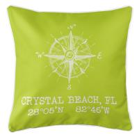 Crystal Beach, FL Compass Rose Pillow - Lime
