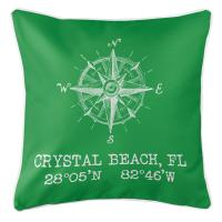 Crystal Beach, FL Compass Rose Pillow - Green