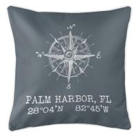 Palm Harbor, FL Compass Rose Pillow - Gray