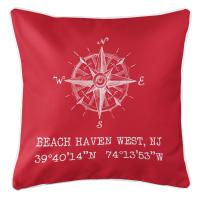 Beach Haven West, NJ Compass Rose Coordinates Pillow - Red
